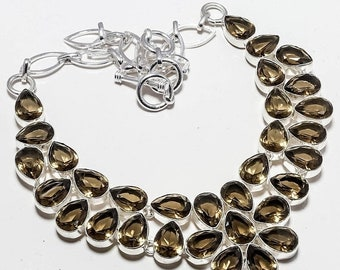 Faceted Smokey Quartz Silver Plated Necklace Jewelry