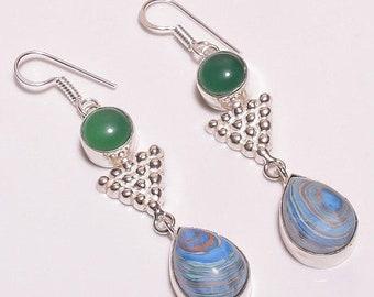 Rainbow Calsilica & Green Onyx Silver Plated/Overlay Earrings  Jewelry