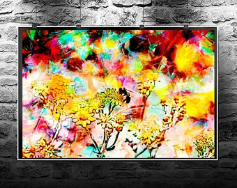 Bee pollination flowers original abstract painting. Bee pollination flowers original art digital download. Abstract flowers Bee pollination.
