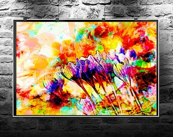 Crocus flower original abstract painting. Crocus flowers original art digital download. Abstract flowers Crocus flower.