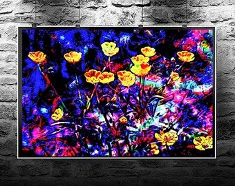 Daffodils original abstract painting. Daffodils original original art digital download. Abstract flowers Daffodils original.