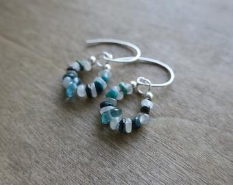blue apatite, chrysocolla, white moonstone sterling silver drop earrings