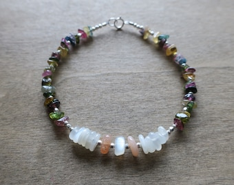 watermelon tourmaline/ white and peach moonstone sterling silver bracelet