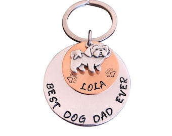 Personalized Dog Dad Keychain, Dog Dad Jewelry, Dog Dad Gift, Father's Day Gift for Dog Dad, Father's Day Keychain