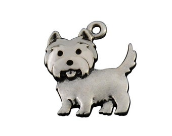 Westie Dangle Bead Charm NEW 3D Double Sided Enamel West Highland Terrier