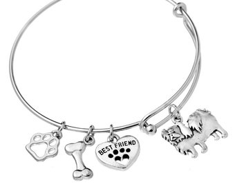 Japanese Chin Charm Bracelet, Stainless Steel Japanese Chin Bangle, Japanese Chin Jewelry, Japanese Chin Gift