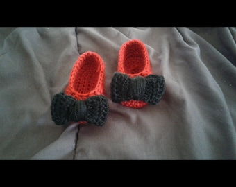 Crochet Toddler Mary Jane Slippers With Bow