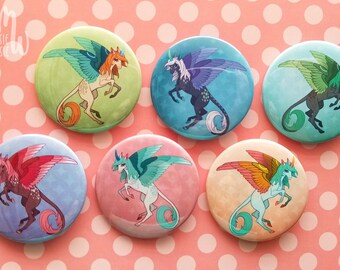 34 or 20 mm. 6 Dark Blue Pegasus Buttons Flying or Winged Horse Handmade Buttons