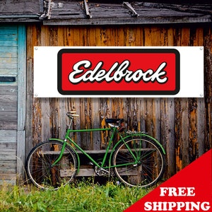 EDELBROCK Auto Parts PVC Vinyl Plastic Banner 2x5ft Wall Flag Garage Mancave