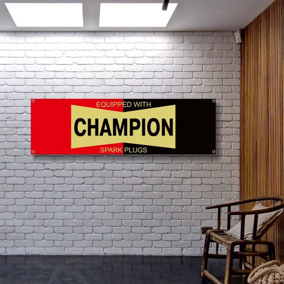 Champion Spark Plug Service Weatherproof Outdoor Garage Workshop Use Art BANNER