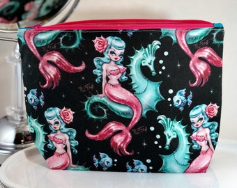 4f96e94d44d7 Mothers Day Gift Mermaid Seahorse Vintage Mod Pinup Mid Century Cosmetic Bag  Zippered Bag Teacher Gift - Makeup Bag -