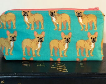French Bulldogs Pencil Case - Frenchy - Dog Mothers Day Gift- Back to School -Glasses Case - School Supply - Cosmetic Bag - Graduation Gift