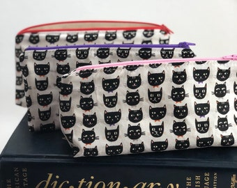 Teacher Gift Pencil Case -Black Cats-Pencil Pouch-Halloween-Back to School  Glasses Case School Supply Small Cosmetic Bag Graduation Gift