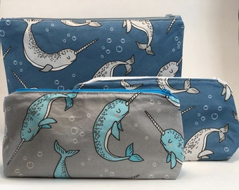 Narwhal Embroidered Long Pouch