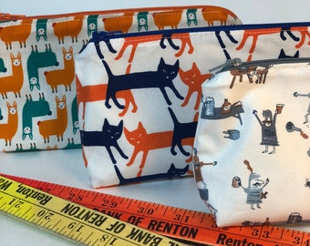 Pencil Case Cats Knights Llamas - Back to School - Glasses Case -School Supply - Small Cosmetic Bag Graduation Gift