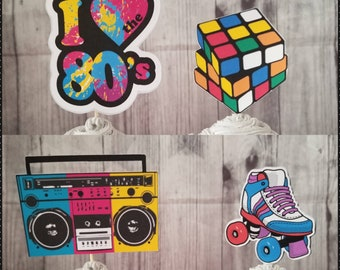 HIP HOP BIRTHDAY Cupcake Toppers Roller Skate Rubix Cube Boom Box 80s Themed I Love The