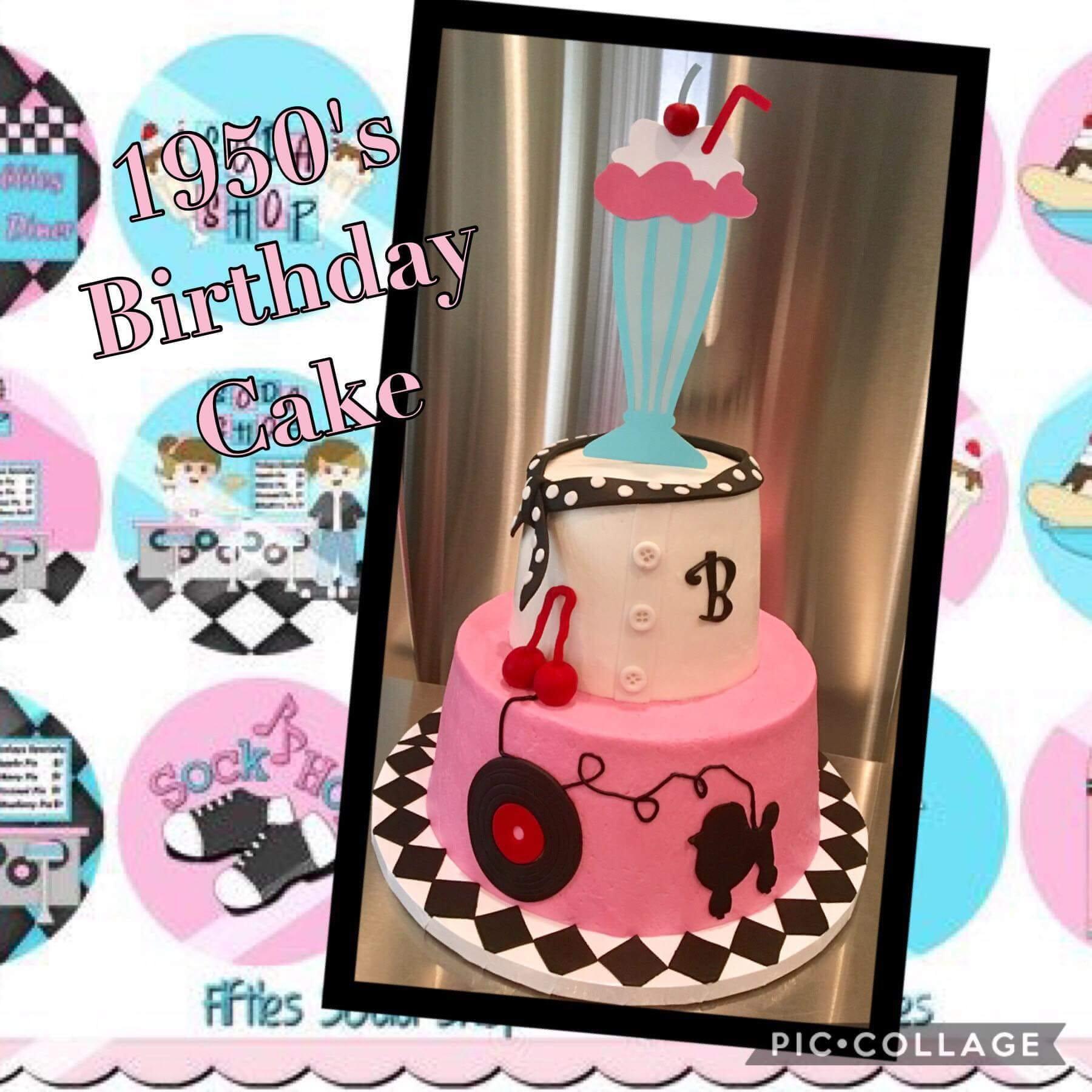 MILKSHAKE CAKE TOPPER Free Shipping 50s Birthday Party