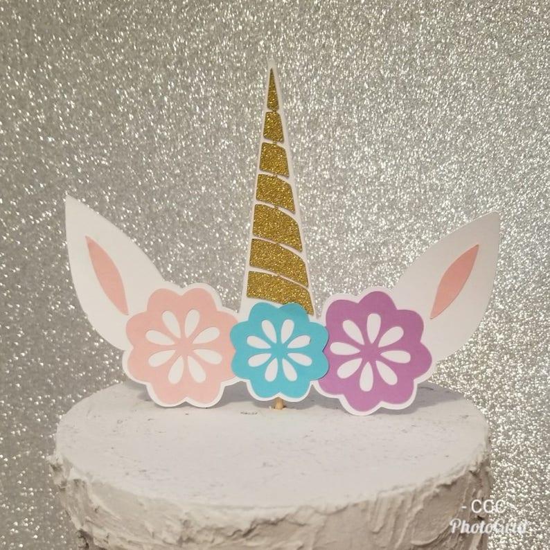UNICORN CAKE TOPPER Unicorn Horn Topper Birthday