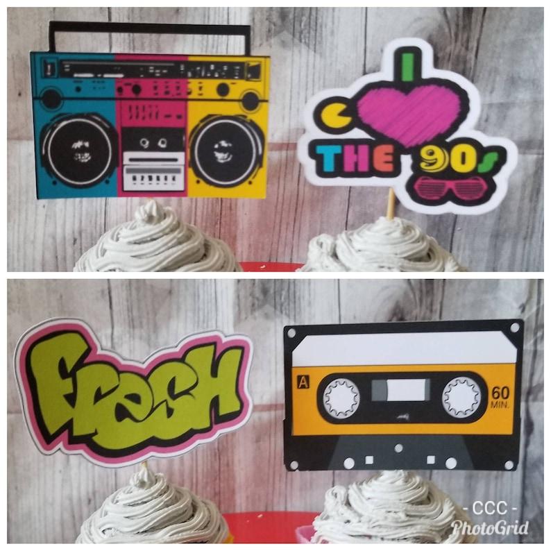 HIP HOP BIRTHDAY Cupcake Toppers Fresh Prince Boom Box 90s