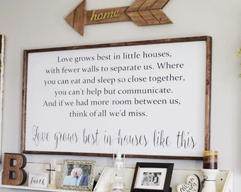 Love grows best in little houses, rustic little houses sign, farmhouse little houses, love grows here sign