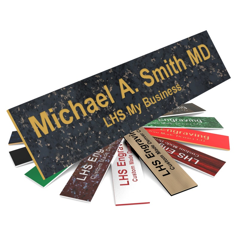 Desk Plate Custom Size Custom Door Plate Personalized office Wall Sign Charcoal Marble Plastic with Gold Lettering Made in USA S6