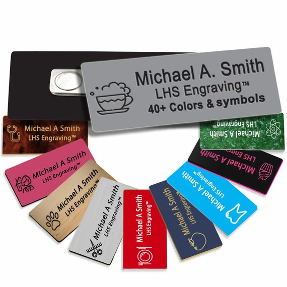 Business Name Tag - Custom Engraved Employee ID Gray Plastic Plate With Black Lettering - B8
