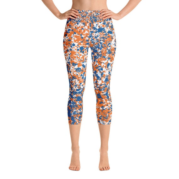Florida Gators Yoga Capri Leggings Paint Splatter Blue Orange  8600f72252d1