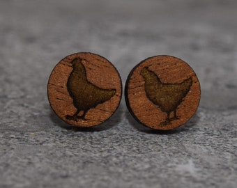 Simple Chicken Earrings Laser Cut, with a Chicken! (Mahogany)