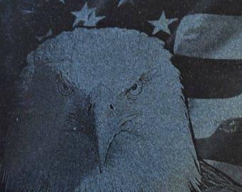 Bald Eagle / American Flag etched on Black Granite