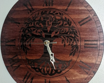 Tree of Life Clock Laser Etched on Red Mahogany