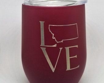 Stemless Wine Glass - Love Montana cup