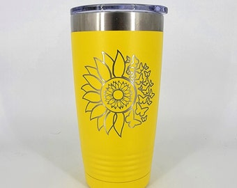 Sunflower and Butterflies - Hot or Cold Travel Cup