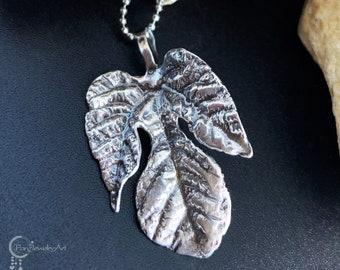 Handmade Sterling Silver Pendant Figs Leaf Shaped