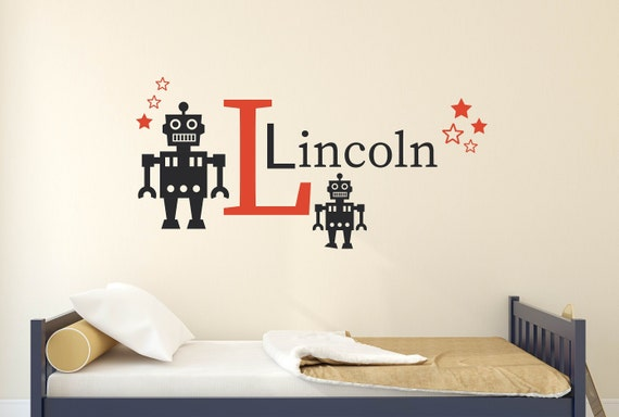 Personalized Custom Name Kid Robot Vinyl Sticker Wall Bedroom Decal Decoration