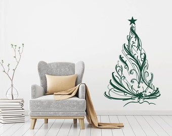 Christmas Tree Star Holiday Wall Decal Sticker Vinyl Art Mural
