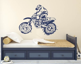 Dirt Bike Motorcycle Vinyl Wall Decal Sticker Wall Decor Boys Room  Mural