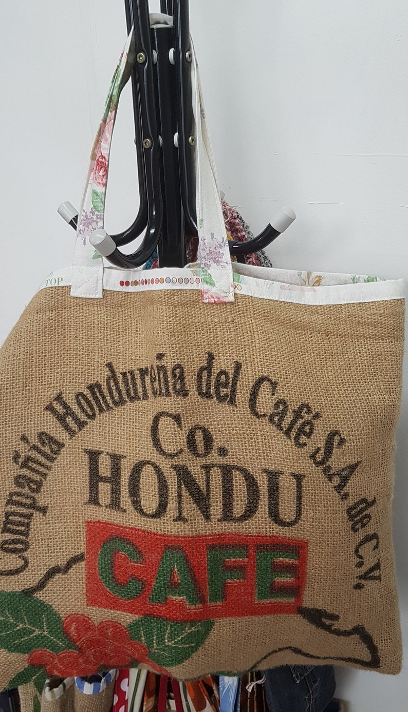 2fb84d44c7 Large Recycled Coffee Sack Bag Hondu Cafe with Roses