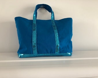 Blue sequin tote bag