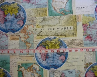 Cartography fabric etsy map of the world vintage cartography cotton quilting fabric 12 yard gumiabroncs Gallery