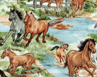 Horses Galloping Australian Brumbies Cotton Quilting Fabric 1/2 YARD