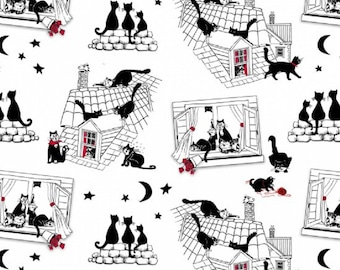 Cats Night Out Black White Cotton Quilting Fabric 1/2 YARD