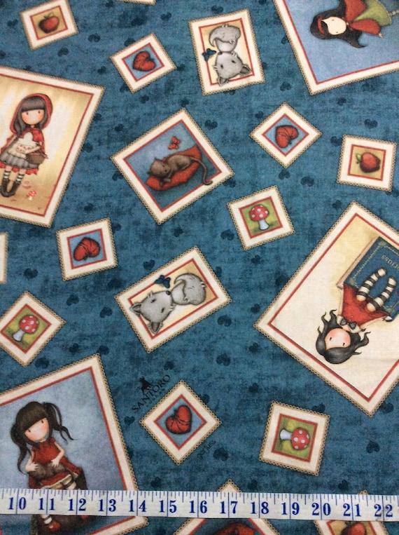Birds of a Feather Girl Patches Santoro Gorjuss Beige Cotton Fabric Fat Quarter
