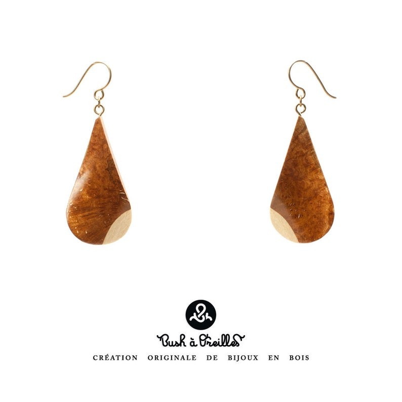 Wooden earrings in heather eco-friendly upcycling of local image 0