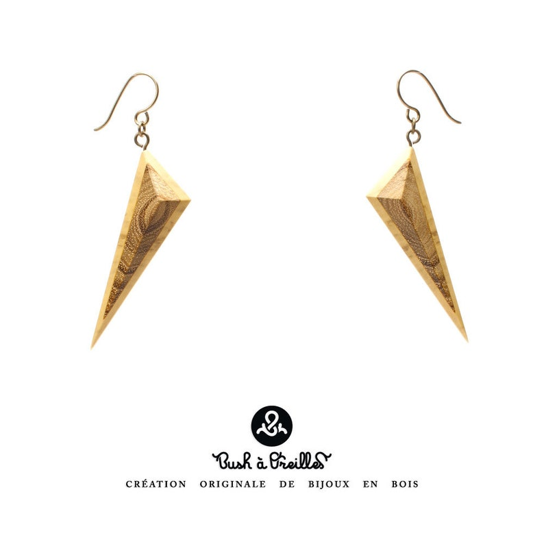 Wooden earrings in acacia eco-friendly upcycling of local image 0
