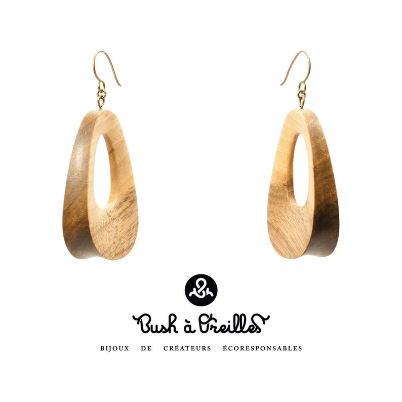 Wooden earrings in walnut slow jewelry eco friendly hand image 0
