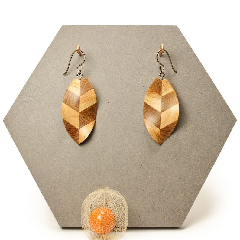 wooden earrings eco-friendly upcycling of local wood image 0
