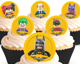 Toppershack 12 x PRE-CUT The Lego Batman Movie Edible Cake Toppers