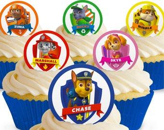 Toppershack 12 x PRE-CUT Paw Patrol Edible Cake Toppers