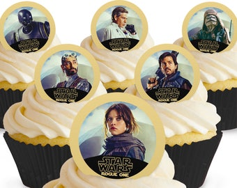 Toppershack 12 x PRE-CUT Star Wars Rogue One 1 Edible Cake Toppers