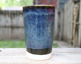 Black and blue tall planter